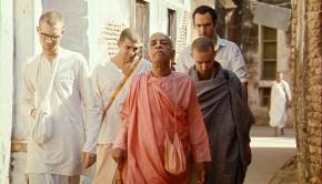 Srila Prabhupada walks through Vrindavan with Disciples