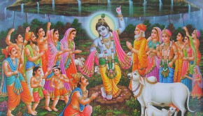 krishna lifts govardhana hill