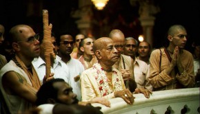 Srila Prabhupada looking at Krishna Balaram Deities Vrindavan India