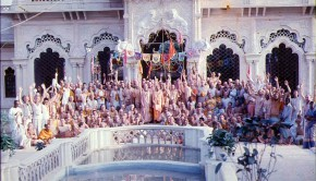 Srila Prabhupada and disciples at Krishna Balaram Temple Vrindavan