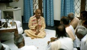 Srila Prabhupada meets with Indian guests in his room at Krishna Balaram Temple Vrindavan India