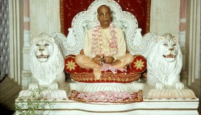 Srila Prabhupada sitting on Vyassasana at Krishan Balaram Temple Vrindavan India