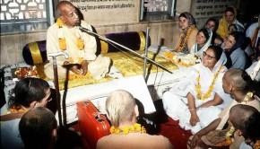 Srila Prabhupada preaches to guests at ISKCON Mayapur