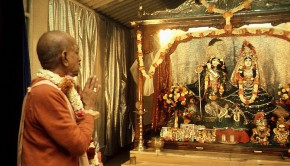 Srila Prabhupada Praying to Radha-Krishna Deities