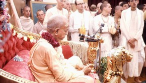 Srila Prabhupada and disciples at initiation ceremony