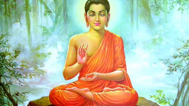 buddha meditating in the forrest