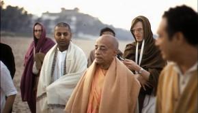 Srila Prabhupada on Morning Walk with disciples