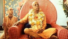 Srila Prabhupada sitting on Vyassasana-3