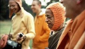 Srila Prabhupada with disciples on morning walk