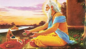 Sri Advaita Acarya offering tulsi leaves to salagram sila on bank of ganges praying for Lord Caitanyas appearance