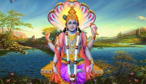 Lord Visnu with four arms sitting beside lake