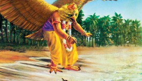Garuda comes to help the sparrow who has lost her eggs in the ocean