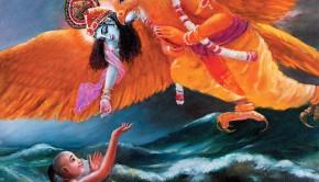 Krishna on his bird-carrier Garuda saves His devotees from the ocean of nescience