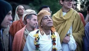 Srila Prabhupada and disciples at New Vrindavan Farm Community