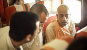 Srila Prabhupada and disciples on airplane