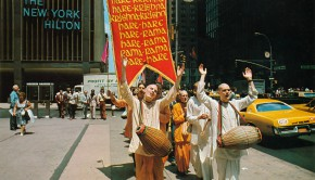 Hare Krishna Devotees Chant outside the New York Hilton 1974