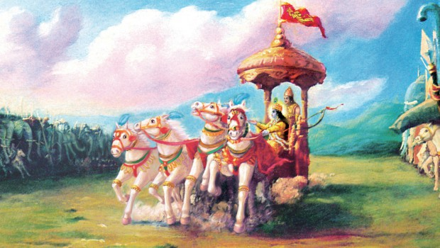 Krishna Draws the Chariot Between the Two Armies on the Battlefield of Kuruksettra at the Beginning of Bhagavad Gita