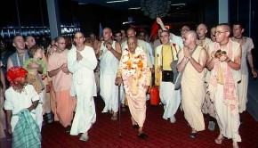 Srila Prabhupada and Hare Krishna Devotees at Airport