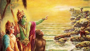 Lord Ramacandra Watches the monkeys build a bridge to Lanka