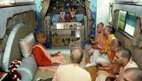 Prabhupada in Radha-Damodar Bus