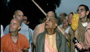 Devotee pointing up and Prabhupada Looking in that Direction