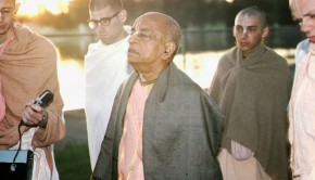 Srila Prabhupada on morning walk at sunrise