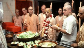 Srila Prabhupada and Tamal Krishna Looking at Salad
