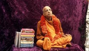 Srila Prabhupada with his original books