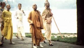 Srila Prabhupada on Morning Walk with Disciples by Lake