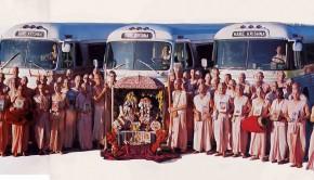 Radha Damodar Traveling Sankirtan Party Busses and Devotees