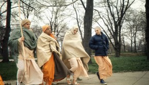 The Living Guru Srila Prabhupada on a Morning Walk