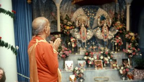 Srila Prabupada Praying to Radha Krishna Deities