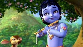 little krishna playing on flute