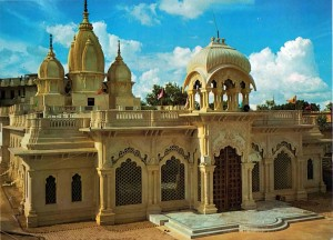 Exquisite ISKCON temple in Vrindavan, India, the birthplace of Lord Krishna, was constructed in 1974 and is already a popular pilgrimage site. International Guest House stands in rear.