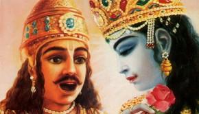 Arjuna and Krishna Speak on the Battlefield of Kuruksettra.