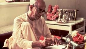 Srila Prabhupada writing a letter