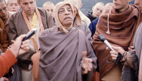 Srila Prabhupada explaining a point on a morning walk in Germany