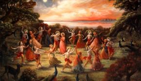 Krishna and Gopis Dance In Rasa Lila