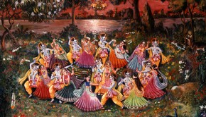 Krishna and the Gopis Enjoy the Rasa Dance on a Full Moon Evening in Vrindavan on the banks of the Yamuna River