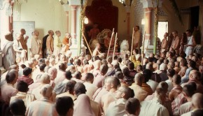 Srila Prabhupada giving class at Krishna Balaram Temple Vrindavan