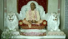 Srila Prabhupada leading kirtan at Krishna Balaram temple Vrindavan