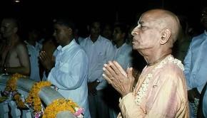 Srila Prabhuapda prays to Sri Sri Krishna Balaram in Vrindavan