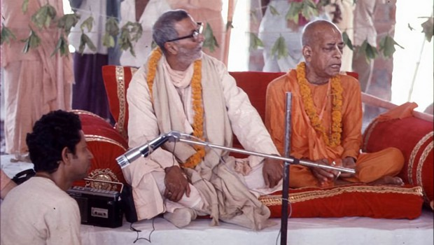 Srila Prabhupada sitting with Gaudiya Matha Godbrother