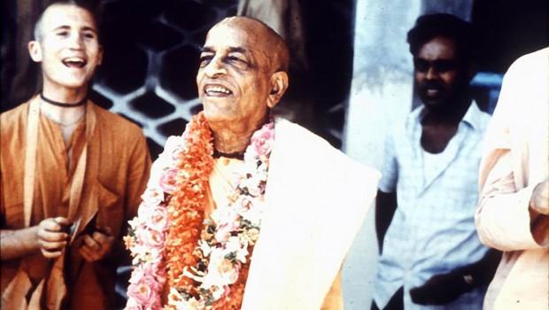 Srila Prabhupada smiles during kirtan