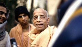 Srila Prabhupada smiles with disciples