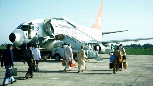Srila Prabhupada walks to India Air plane on airport tarmac