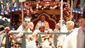 Srila Prabhupada Playing Kartals on Rathayatra Cart