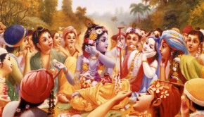 Krishna and His Cowherd Boyfriends Enjoying Lunch in the Forest of Vrindavan