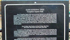 Hare Krishna Prabhupada Tree Sign in Tompkins Square Park New York City