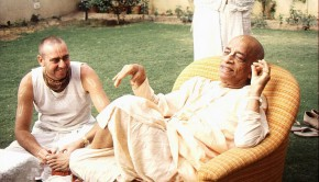 Srila Prabhupada in his garden